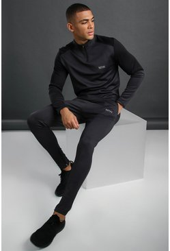 Charcoal MAN Active Funnel Neck Reflective Detail Tracksuit