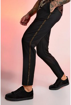 Herr Black Smart Jogger Metallic Tape Trouser