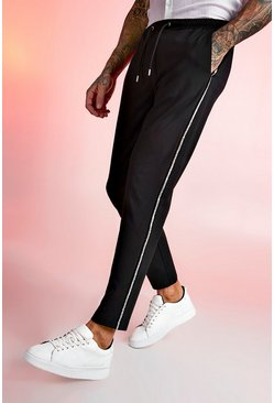 Mens Black Smart Jogger Metallic Tape Cropped Trouser