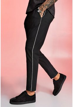 Black Smart Jogger Trouser With Metallic Piping