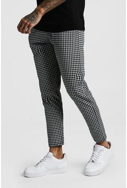 Mens Black Houndstooth Jacquard Cropped Smart Jogger