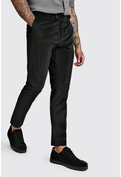 Black Velour Skinny Fit Smart Trouser
