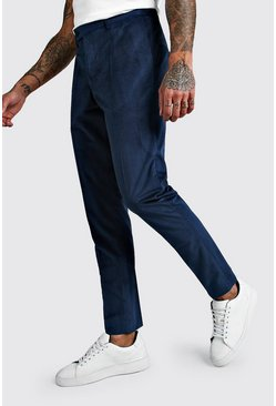 Teal Velour Skinny Fit Smart Trouser