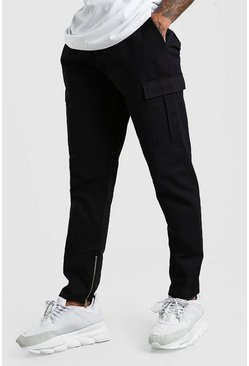 Black Zip Ankle Twill Cargo Trouser