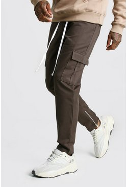 Zip Ankle Twill Cargo Trousers, Khaki