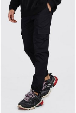 Mens Black Cargo Buckle Detail MAN Cuffed Trouser