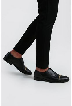 Black Chain Detail Faux Leather Brogue