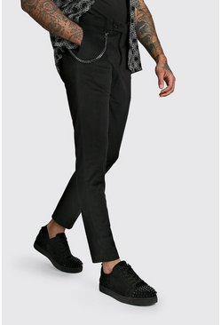 Black Velour Skinny Fit Smart Pants With Chain