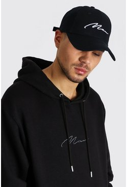 MAN Signature Embroidered Cap, Black
