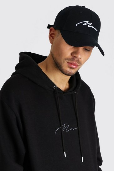 Black MAN Signature Embroidered Cap