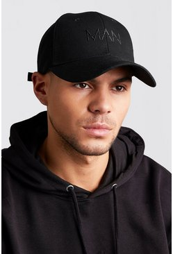Mens Black MAN Dash Embroidered Cap