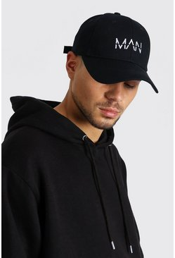 White MAN Dash Embroidered Cap