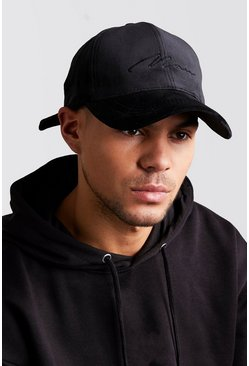 Mens Black MAN Signature Velvet Cap