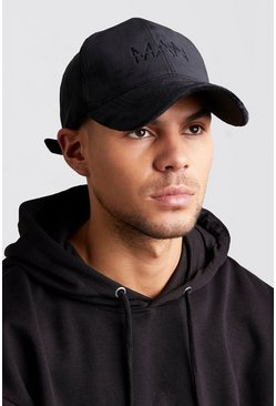 Mens Black MAN Embroidered Velvet Cap