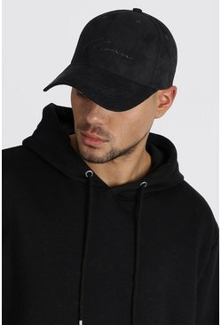 Mens Black MAN Signature Embroidered Suedette Cap