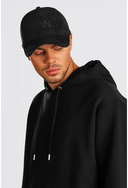 Mens Black MAN Dash Embroidered Suedette Cap
