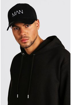 White MAN Dash Embroidered Suedette Cap