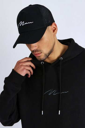 White MAN Signature Embroidered Trucker