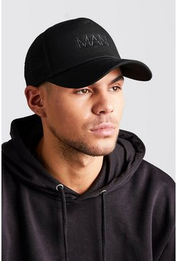 Mens Black MAN Dash Embroidered Trucker Cap