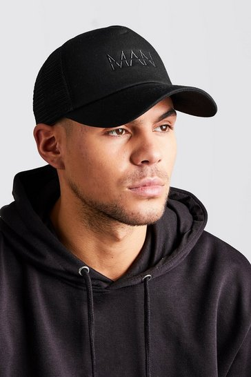 Black MAN Dash Embroidered Trucker Cap