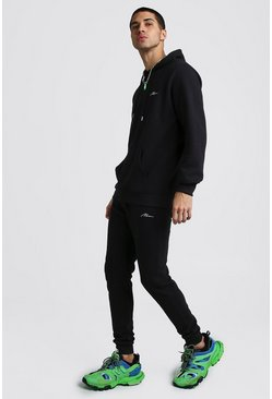 Black MAN Signature Ribbed Hooded Tracksuit