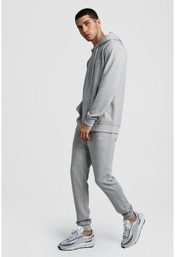 Herr Grey marl MAN Signature Ribbed Hooded Tracksuit