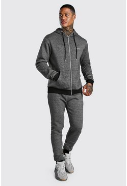 Original MAN Melange Zip Hooded Tracksuit, Charcoal