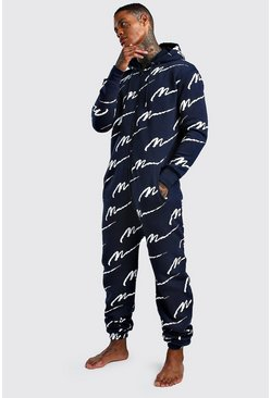 MAN Script All Over Print Onesie, Navy