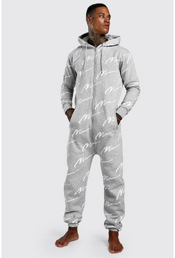 MAN Script All Over Print Onesie, Grey