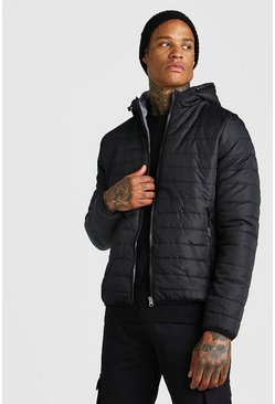 Quilted Zip Through Jacket With Hood, Black, HERREN