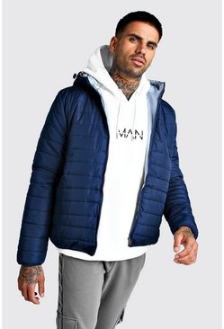 Quilted Zip Through Jacket With Hood, Navy, HERREN