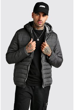 Quilted Zip Through Jacket With Hood, Dark grey, HOMMES