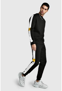 Herr Black Sweater Tracksuit With Contrast Side Panels
