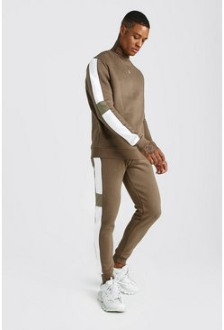 Mens Khaki Sweater Tracksuit With Contrast Side Panels
