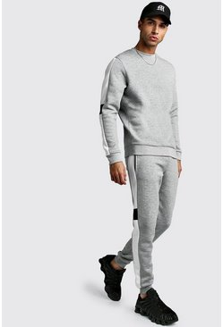 Sweater Tracksuit With Contrast Side Panel, Grey marl