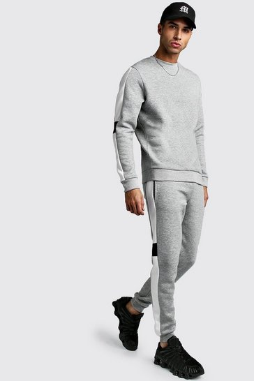 Grey marl Sweater Tracksuit With Contrast Side Panel