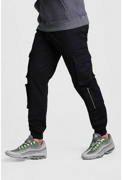Multi Cargo Pocket Cuffed Trouser, Black, HOMMES