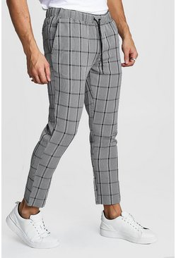 Mens Black Mono Check Smart Cropped Jogger Trouser