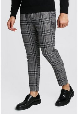 Charcoal Wool Look Check Smart Cropped Jogger Trouser