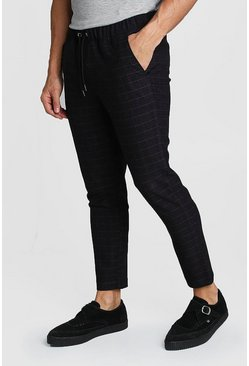 Wool Look Windowpane Check Jogger Trouser, Black, МУЖСКОЕ