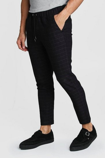 Mens Black Wool Look Windowpane Check Jogger Trouser