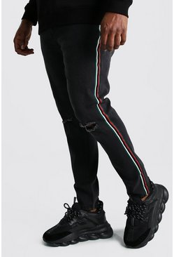 Big And Tall Side Tape Skinny Jean, Washed black