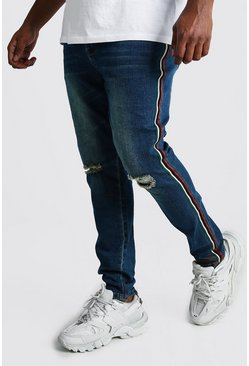 Big And Tall Side Tape Skinny Jean, Mid blue