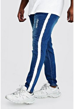 Mid blue Big & Tall - Skinny jeans med sidopaneler