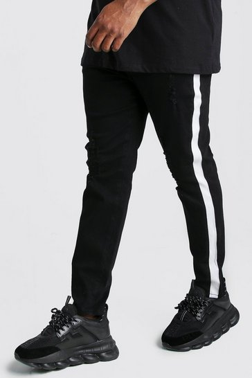 Black Big And Tall Side Panel Skinny Jean