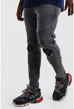 Big And Tall Skinny Busted Knee Biker Jean, Charcoal