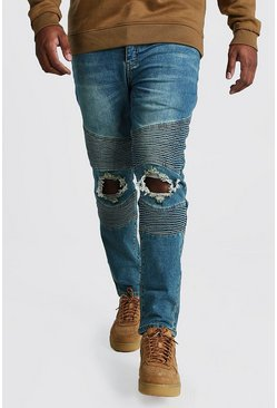 Big And Tall Skinny Busted Knee Biker Jean, Mid blue