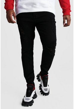 Black Big And Tall Ripped Knee Skinny Jean