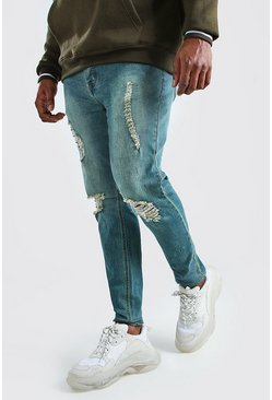 Big And Tall Ripped Knee Skinny Jean, Mid blue