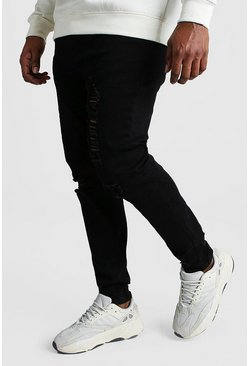 Black Big And Tall Skinny Jean With Heavy Distressing